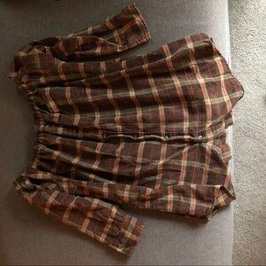 Off the shoulder flannel shirt dress